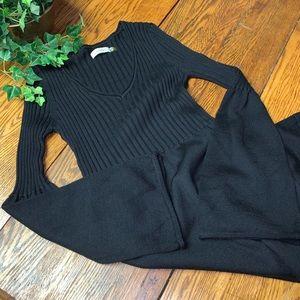 Calvin Klein Sweater Dress Bell Sleeve V Neck Knit